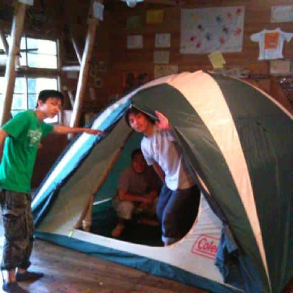 cdad0f0ce51126d13d6696b61e11de2a1 - 野尻学荘に新しいテントが!ランプも新しくなったよ。