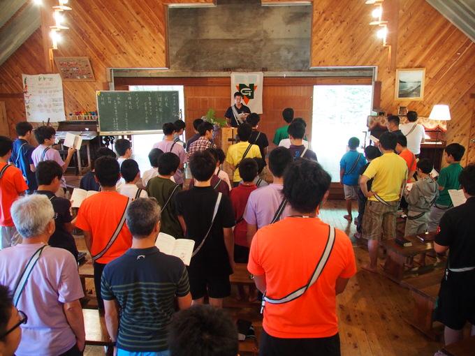 日曜日ということで、主日礼拝が行われました|第82回野尻学荘5日目