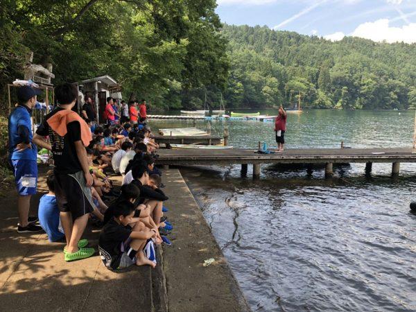 水上オリエンテーションと泳力チェックを実施しました 第84回野尻学荘2日目